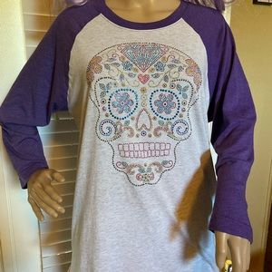 Sugar Skull Long-Sleeve Raglan T-Shirt Medium VGC